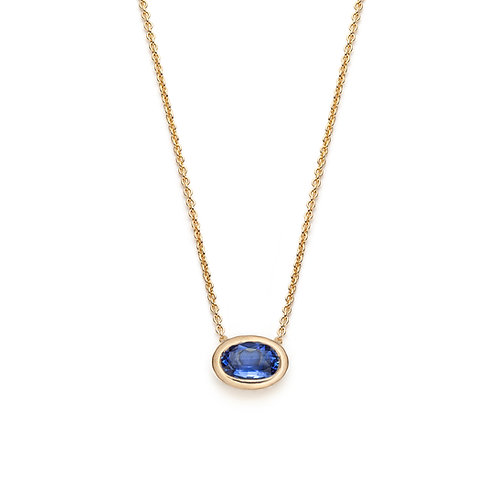 Oval Sapphire Bezel Necklace in Yellow Gold