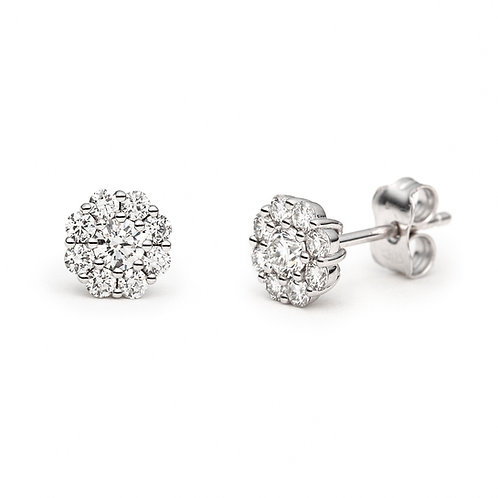 """""""Illusion Flower"""" Round Diamond Halo Stud Earrings in White Gold"""
