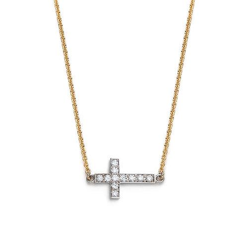 Diamond Pavé Cross Two Tone Necklace