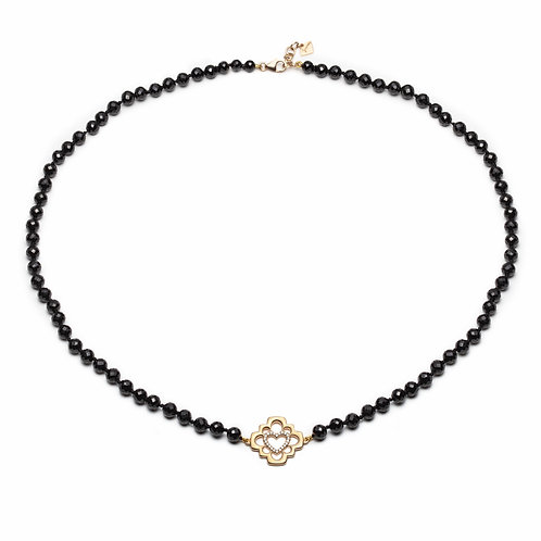 """""""Love Blossom"""" Diamond and Black Spinel Necklace in Yellow Gold"""