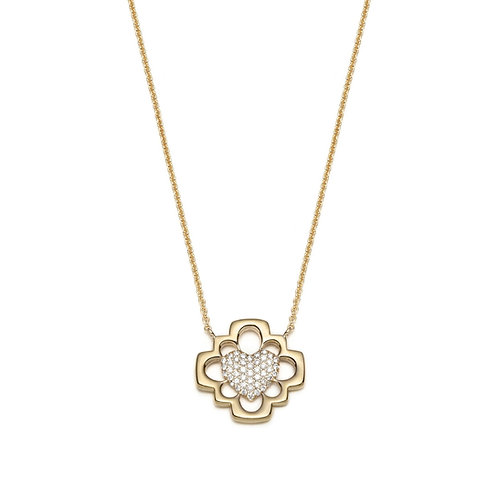"""Love Blossom"" Diamond Pavé Necklace in Yellow Gold"