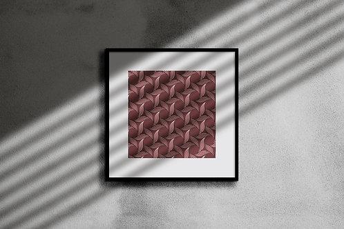 BLUSH LEAF GEOMETRIC WALL ART