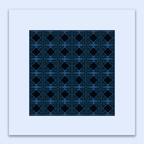 ELECTRIC BLUE GEOMETRIC WALL ART