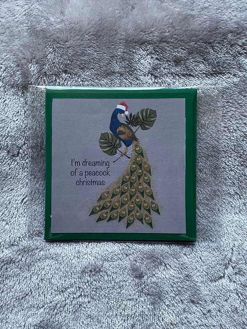HANDMADE CHRISTMAS CARD - PEACOCK