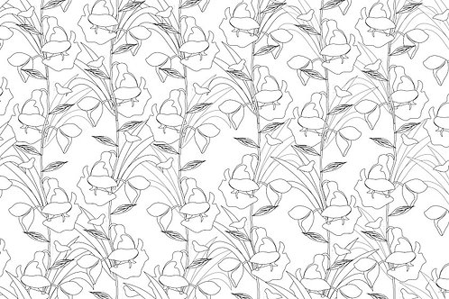 BOTANICAL FLORA COLOURING PAGE