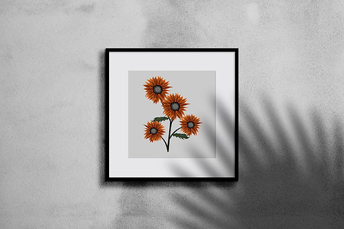 CRIMSON QUEEN SUNFLOWER WALL ART