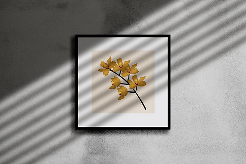 GOLDEN ORCHID WALL ART