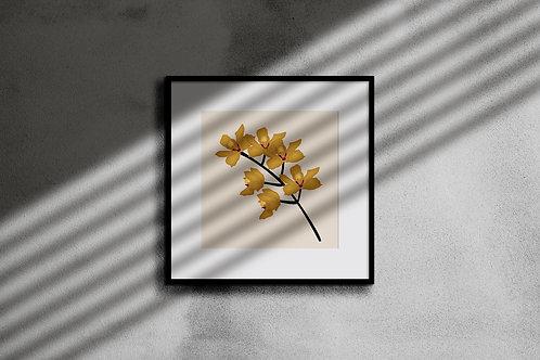 GOLDEN ORCHID WALL ART