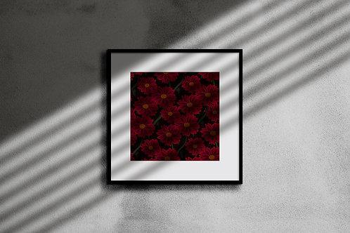 VELVET RED FLORA WALL ART