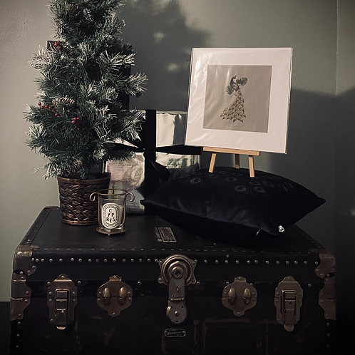 CHRISTMAS GIFT SET - PEACOCK CUSHION COVER + PRINT