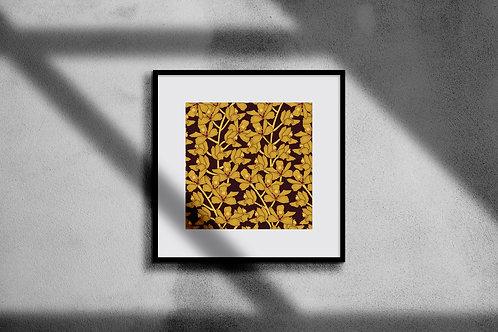 GOLDEN ORCHIDS WALL ART