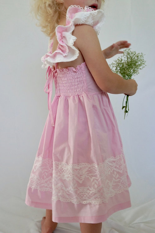 Pink with White Lace Ruffle Dress for Toddler Girls