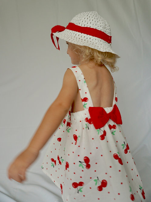 Sweet Cherry Dress & Hat Set for Toddler Girls