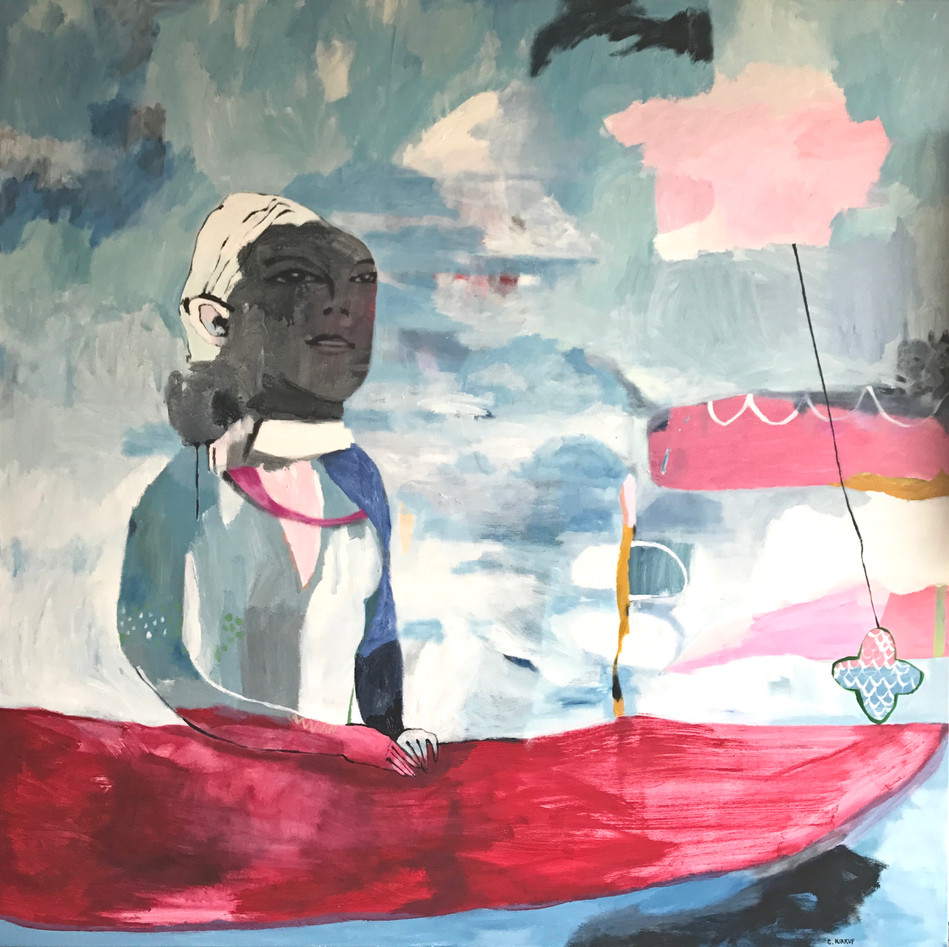 Girl on Boat with Flying Gelato cloud - 180x180cm