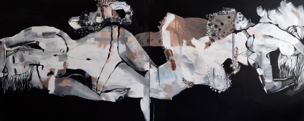 Ink Float Pair - Diptych - 300x150cm
