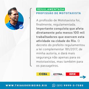 Lei do Mototaxista de autoria do vereador Thiago K. Ribeiro é regulamentada