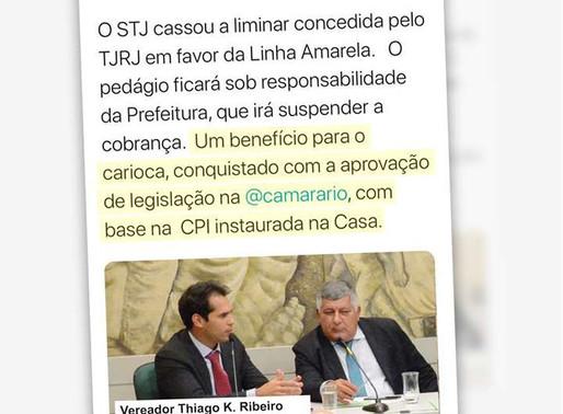 Vereador Thiago K. Ribeiro: STJ derruba liminares que impediam encampação da Linha Amarela