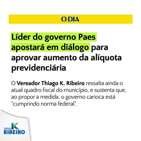 Jornal O Dia: Líder do governo Paes apostará em diálogo