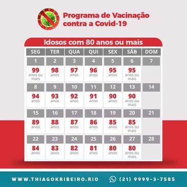Calendário de Vacinação Fase 2 - Fevereiro 2021