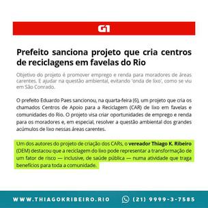 É notícia: Prefeito sanciona projeto que cria centros de reciclagens em comunidades do Rio
