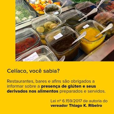 Importante medida do vereador Thiago K. Ribeiro para dar mais tranquilidade e segurança aos celíacos