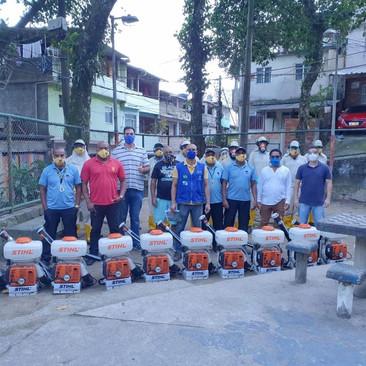 Dia de sanitização contra o Covid-19 no Morro do Banco