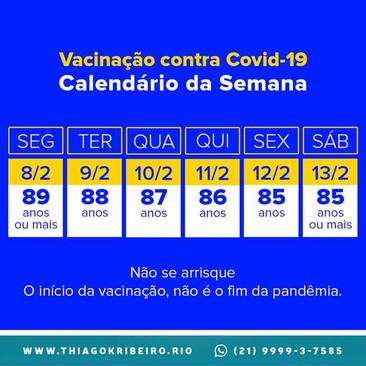 Confira o calendário de vacinação contra Covid-19