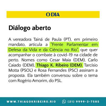 """É Notícia: Vereador Thiago K. Ribeiro na """"Frente Parlamentar em Defesa da Vida e da Ciência no Rio"""""""