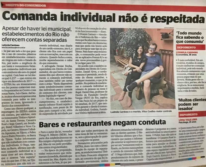 Comanda individual Jornal Extra
