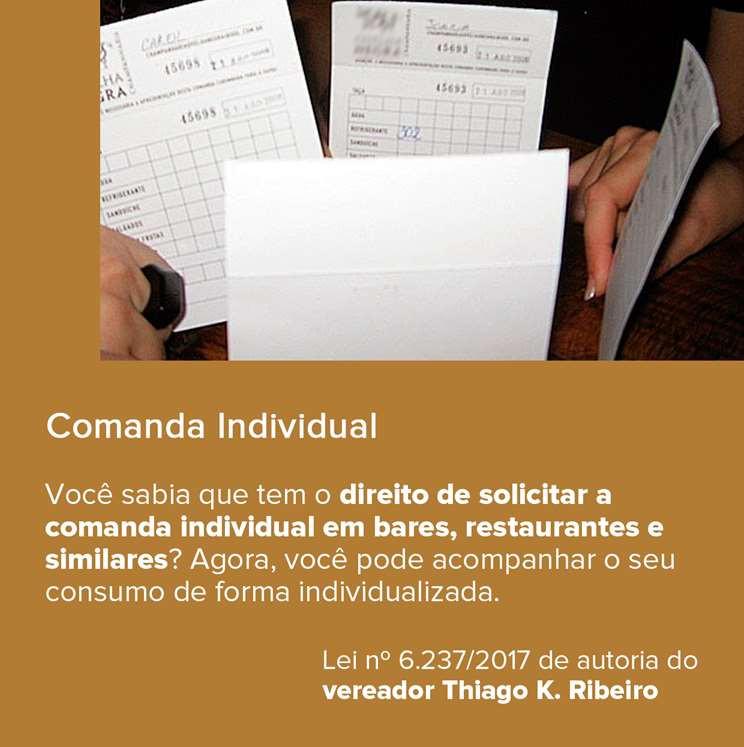 Comanda Individual em bares e restaurantes do Rio de Janeiro