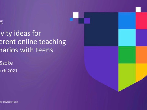 Activity ideas for different online teaching scenarios with teens (CUP webinar)