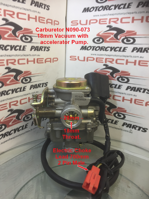 Carburetor, N090-073, 18mm Vacuum with accelerator Pump  GY6 50cc Scooters