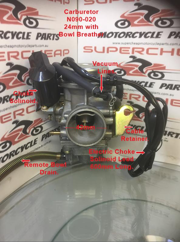 Carburetor, N090-020, Keihin 24mm, GY6 125cc-150cc ATV, Go Kart, Moped &  Scooter