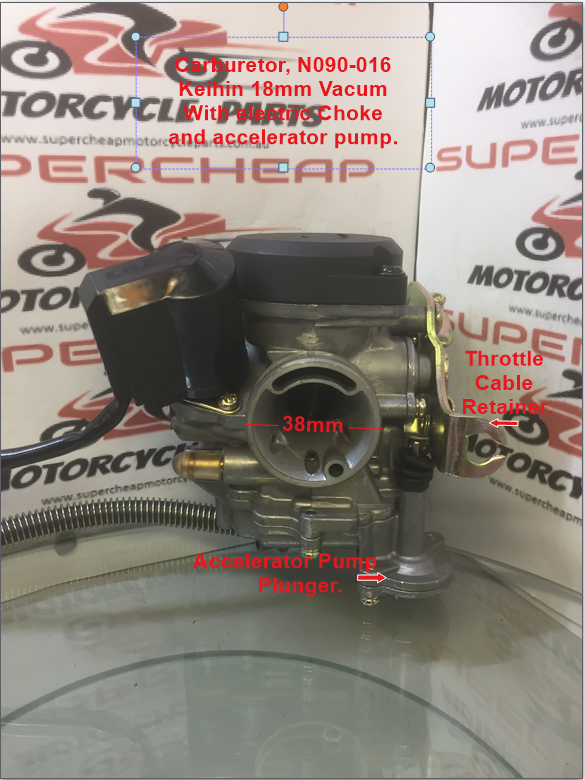 Carburetor, N090-016, Keihin 18mm, GY6 50cc, Vacuum slide with accelerator  pump