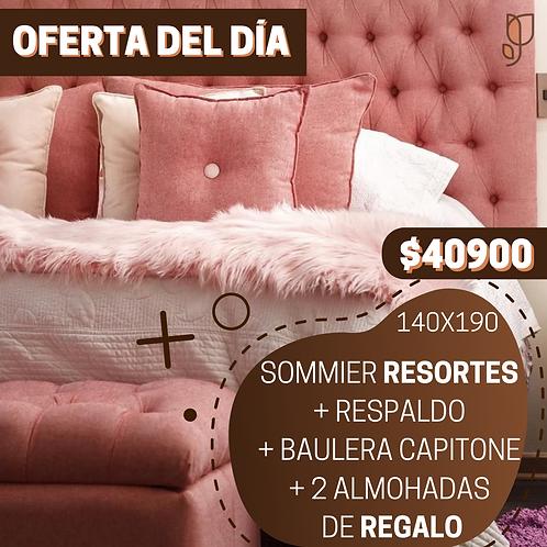 OFERTA 4 Sommier 2 Plazas Resortes + Respaldo + Baulera + 2 Almohadas