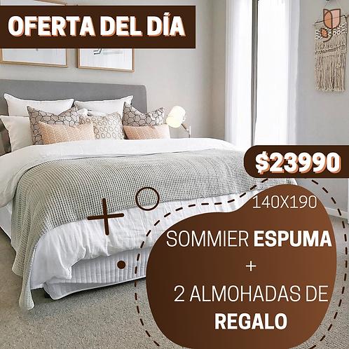 OFERTA 5 Sommier 2 Plazas Espuma + 2 Almohadas de regalo