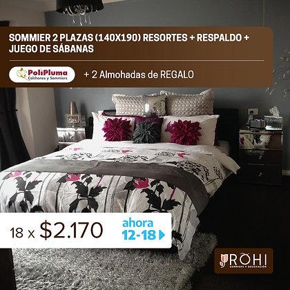 COMBO 5 Sommier 2 Plazas Resortes + Respaldo + Juego de Sábanas + 2 Almohadas