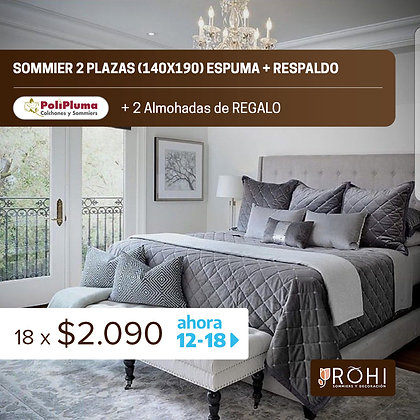 COMBO 4 Sommier 2 Plazas Espuma + Respaldo + 2 Almohadas