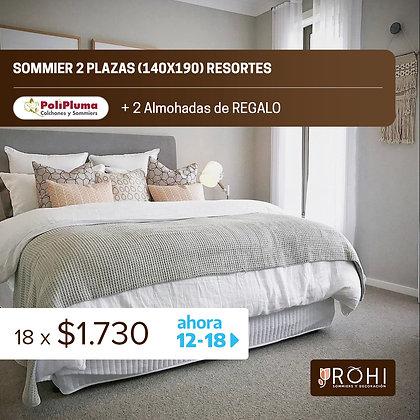 COMBO 1 Sommier 2 Plazas Resortes + 2 Almohadas de regalo
