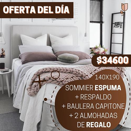 OFERTA 8 Sommier 2 Plazas Espuma + Respaldo + Baulera + 2 Almo