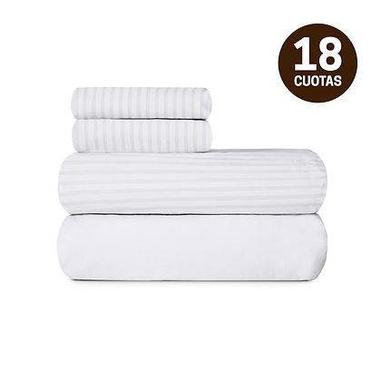 Juego de Sábanas 100% Algodón Palette Lines Blanco