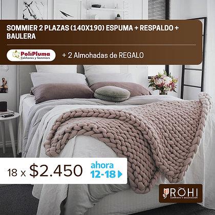 COMBO 8 Sommier 2 Plazas Espuma + Respaldo + Baulera