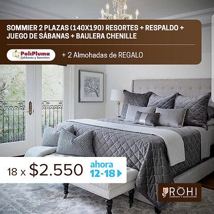 COMBO 9 Sommier 2 Plazas Resortes + Respaldo + Juego de Sábanas + Baulera