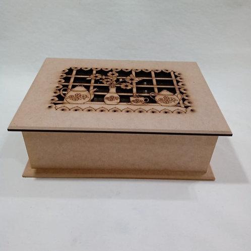 Caixa de Chá 6 Divisões com Recorte