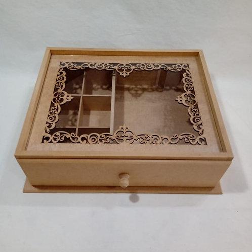 Caixa de Chá Rendada com Vidro