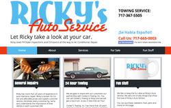 Ricky's Auto Service Website Homepage