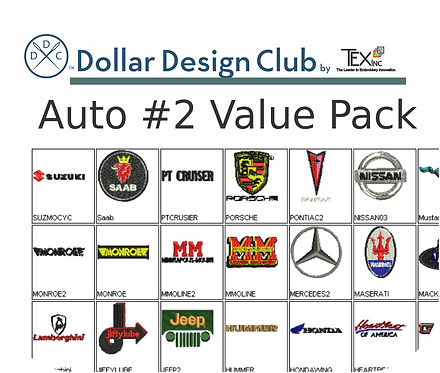 AUTO LOGOS #2 VALUE PACK (45 DIGITIZED FILES)