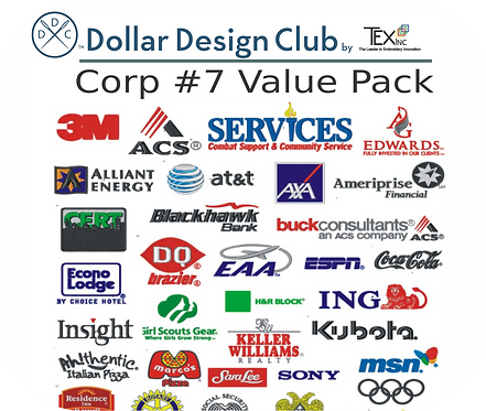 CORP LOGOS #7 VALUE PACK (45 DIGITIZED FILES)