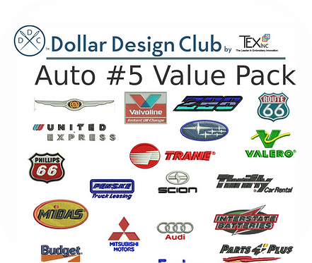 AUTO LOGOS #5 VALUE PACK (45 DIGITIZED FILES)