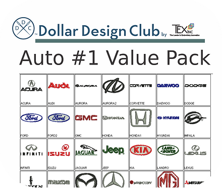 AUTO LOGOS #1 VALUE PACK (45 DIGITIZED FILES)